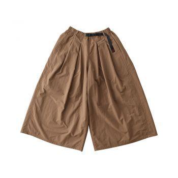 Gramicci Women-LADIES SHELL TUCK FLARE PANTS TAN